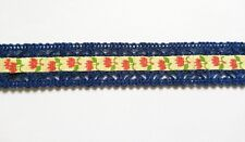 2 yards - Cute Tulip Printed Ribbon Lace trim - size 20 mm Navy Blue
