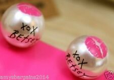 """Signature Betsey Johnson XOX Faux Pearl Stud Earrings """"Marilyn Collection"""" SWAK"""