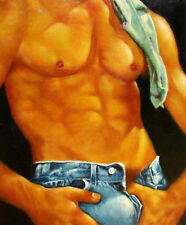 """Huge GAY oil painting male portrait Wearing jeans handpainted canvas 36"""""""