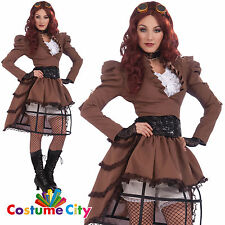 Adults Womens Steampunk Vicky Victorian Fancy Dress Party Halloween Costume