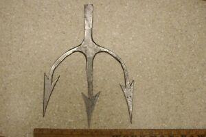 "Handmade 15oz. Three Prong Fishing Spear,Gig,12-9/16"","" Wide,Good Condition"