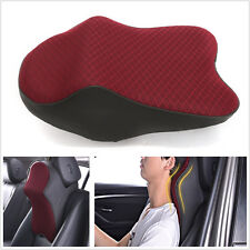 Portable Back & Red Autos Seats Headrest Memory Foam Pillow Neck Support Cushion