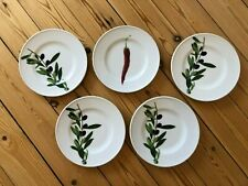 5 Frühstücks Teller Marke DIBBERN hochwertiges Hartporzellan Olive Chilli
