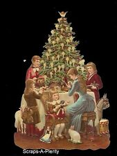 German Embossed Scrap Die Cut - Large Children Around Christmas Tree   BK5122