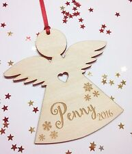 Memorial Personalised Christmas Tree Decoration Angel Wooden Sleeping Angel