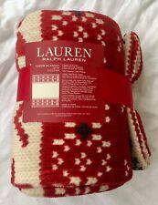 """NWT Ralph Lauren Throw Blanket Red Cream Fair Isle Print Fleece Plush 60"""" x 70"""""""