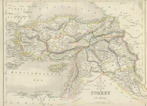 MAP 1850 TURKEY IN ASIA 27,5cm x 37,5cm - wonderful rare almost 175 years old