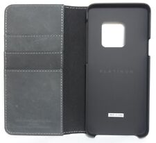 Platinum - Leather Folio Wallet Case for Samsung Galaxy S9 - Charcoal