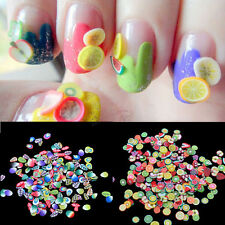 1000Pcs/Pack Fashion 3D Fruit Feather Nail Art Patch Fimo DIY Armour Wraps Decor
