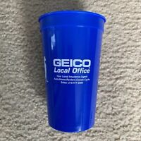 New! Geico Promotional Plastic Drink Cups Blue - Lot Of 2, Made In USA, BPA Free