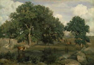 Jean Baptiste Camille Corot Forest of FontainebleauCanvas Print LARGE SIZE