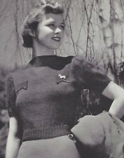 Vintage Knitting PATTERN to make 40s Pullover Sweater Blouse Pocket Flaps