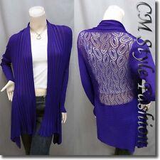 Chic Shawl Collar Drapey Open Cardigan Purple Top Purple M