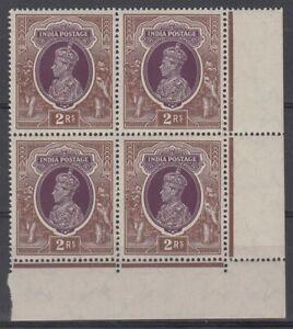 INDIA 1937 KGVI 2r MINT BLOCK (4) MNH