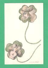 SCARCE LUDWIG RAUH ART NOUVEAU FANTASY POSTCARD BEAUTIFUL LADIES IN SHAMROCKS