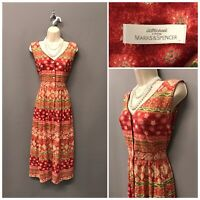St Michael M&S Coral Mix Boho Print Sleeveless Dress UK 14 EUR 42 US 10