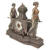 "Versailles Maidens Sculptural Design Toscano Hand Sculpted 11½"" Mantel Clock"