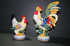 """(2) FITZ & and FLOYD rooster/chicken candleholders 10 1/2""""+ GORGEOUS CENTERPIECE"""