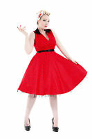 Womens Classy Vintage Red Polka Dot V Neck Full Circle Jive Swing Dress New 8-18
