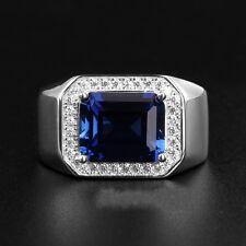 Bague Homme Reglable Saphire Bleu Rectangle Argent Massif 925 Mariage CY3