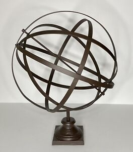 """Large Vintage Iron Metal Sphere Globe Armillary 21"""" Sculpture for Garden or Home"""