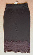 New 8 Black Midi Jersey Wiggle Pencil Skirt Wide Lace Hem Elasticated Waist