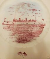Vintage China Dinner Plate Boat Warship Minneapolis