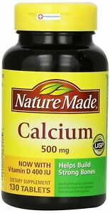 Nature Made Calcium, 500 mg, With Vitamin D, Tablets, 130 ct