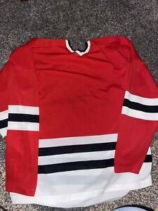 CCM Maska Superfil Blank Chicago Blackhawks NHL Vintage Red Size XL Jersey 48