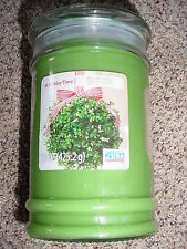 "HOLIDAY TIME ""KISS ME UNDER THE MISTLETOE"" GREEN CANDLE JAR, NEW"