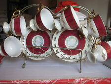 Vintage JAPAN Empress China 12 pc Coffee Set 6 Cups and 6 Saucers +Display Rack
