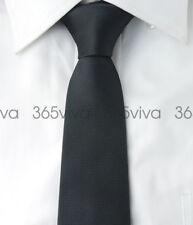 Black Solid Plain Skinny Slim Narrow Woven Silk 6.5 cm Necktie Wedding Tie