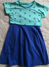 OLD NAVY – GIRLS – BLUE & MINT GREEN JERSEY DRESS – PALM TREES - AGE 5 YEARS