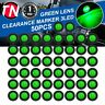"50 Pcs 3 LED Green Lights Indicator 12V RV Bullet 3/4"" Trailer Truck Side Marker"