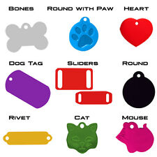 100 Assorted Pet Tags.  Anodized aluminum. Ready to personalize.