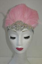 Light Pink Feather Headdress Burlesque Headpiece Vintage 1920s 1940s Silver T87