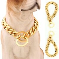 Pet Dog Choke Chain Gold Color Choker Collar Necklace Stainless Steel Width 15mm