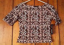 Junior's Size Large Leopard Print Top Blouse Shirt Tan Brown Black White