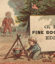 WEBSTER MA TRADE CARD, GD BATES BOOTS, EDDY BLOCK, FLAG & SM. BOYS CAMPOUT  Z163