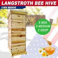 5 Board Box 10-Frame Beehive Frames /Bee Hive Frame for Beekeeping w. Metal Roof