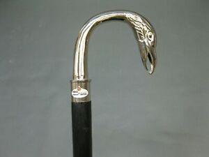Bird Chrome Brass Wooden Walking Shaft Stick Cane Handle Vintage Style Solid