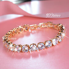 18K YELLOW GOLD FILLED BRILLIANT SIMULATED DIAMOND ROUND CUT CHAIN BRACELET