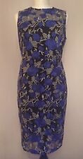 NEW NEXT PETITE BLACK/BLUE HEAVY EMBROIDERED MESH FLORAL PRINT DRESS SIZE 14
