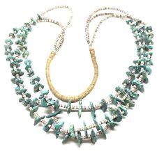 TURQUOISE 3-Strand HEISHI Native American Pueblo Squaw Wrap Necklace 925 Vintage
