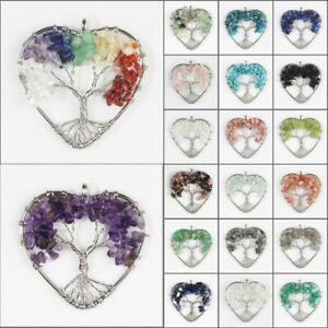 Natural Amethyst Fluorite Gemstones Silver Tree of Life Chip Beads Heart Pendant