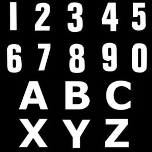 80mm White Vinyl Numbers Letters Self Adhesive Sticker Wheely Wheelie Bin House
