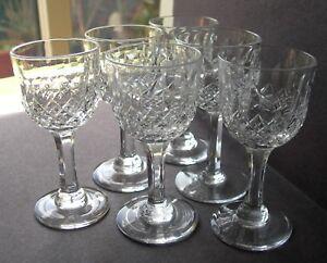 "NICE SET OF 6 THOMAS WEBB CRYSTAL NORMANDY CUT CORDIAL LIQUEUR GLASSES 3-5/8"""