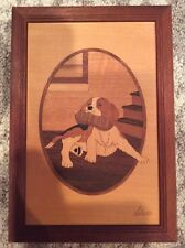BEAGLE PUPPY WOOD INLAY BY HUDSON RIVER INLAY, SIGNED BY NELSON