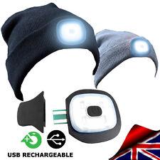 BEANIE HAT HEAD LED LIGHT BLACK GREY WINTER USB RECHARGEABLE 4 LED MECHANICS
