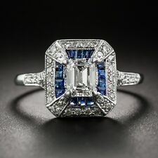 Certified 1.70Ct Emerald-Cut Art Deco Style Sapphire Engagement Ring In14K Gold.